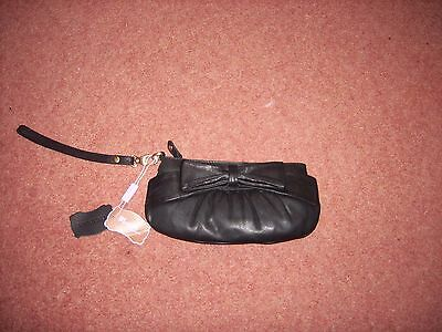 MONSOON Black Leather small bag with wrist strap NWT