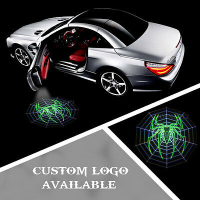 2x Green Spider Logo Cree LED Car Door Welcome Projector Ghost Lamp Shadow Light