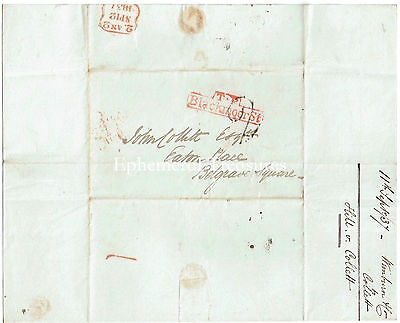 1837 Entire to London (John Collett) - Red T.P.Blackmoor St cancel