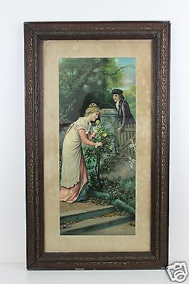 Large Antique c19th  Lithograph by Eva Hollyer Signed & Framed 70cm x 41cm