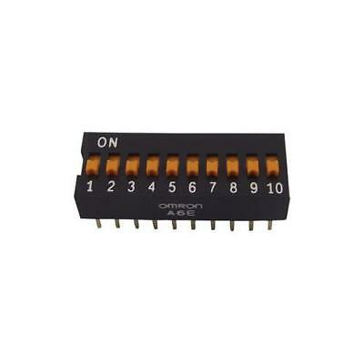 1 x Omron A6E0104, 10 Way Through Hole DIP Switch 10P, 25 mA@ 24V dc