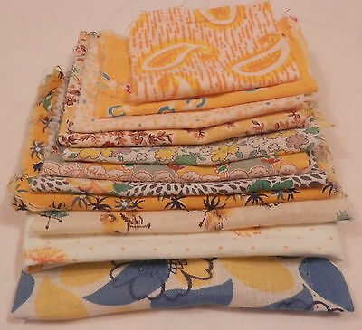 Vintage Lot 11 Large Feed Sack Pieces Assorted Yellow Prints Quilting Fabric