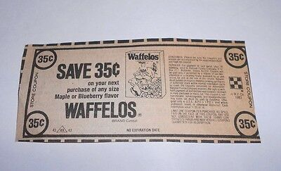 Vintage Ralston Purina WAFFELOS Cereal Store Coupon No Expiration Date 1983