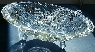 """Vintage 9.25"""" round pressed glass footed bowl, scalloped rim, stars / arches"""
