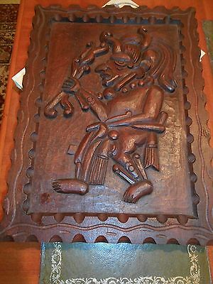 CARVED WOODEN PANEL OF A Figure on a Panel WITCH DOCTOR ??