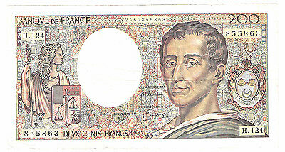 Banknote of france 200 francs dated 1992 very fine+ condition.
