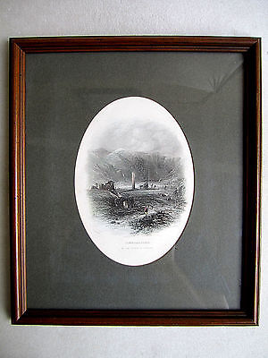 old print of ireland glendalough hand painted 100 year old engraving 10x12 frame