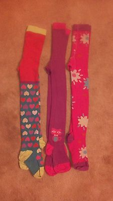 Next girls bright colour 3 pack flower, heart, cat tights size 7-8 years