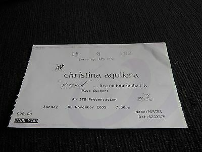 Christina Aguilera Stripped concert ticket 2003