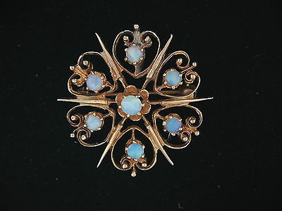 Estate and Vintage 14K Yellow Gold Seven Opal Brooch/Pendant