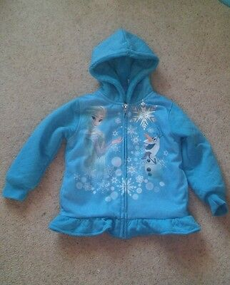 Girls Disney Frozen turquoise zip up jacket/hoodie age 4 with Elsa & Olaf design