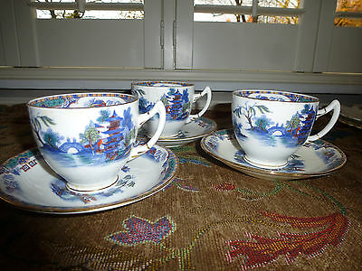 Radford Crown China Part Tea Set / Cake Plates Chinese Pattern In Blue 10 Items
