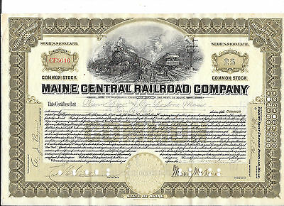 Maine Central Railroad----1923--Stock Certificate