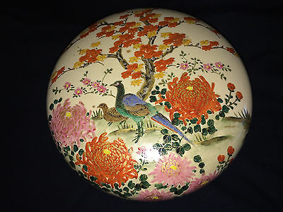 "8"" Antique Meiji Satsuma Round Lidded Box Flower Bird Decorated Japan Japanese"