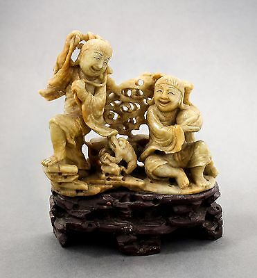 Antique Chinese soapstone carving comical figurine two men frog statue