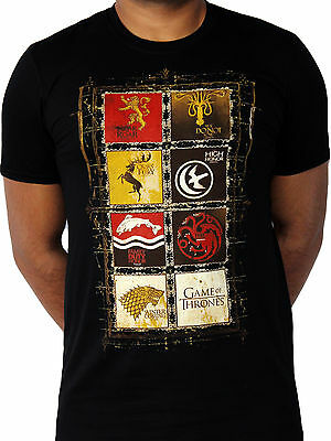 Game of Thrones House Crests 8 Lannister Stark TV Official Black Mens T-shirt
