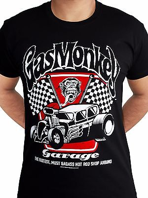 Gas Monkey Garage Badass Spark Plugs Motor Hot Rod Licensed Black Mens T-shirt