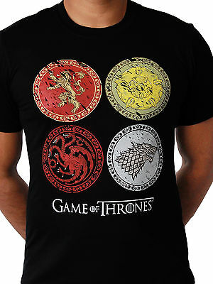 Official Game of Thrones House Crests 4 Lannister Stark Black Mens T-shirt