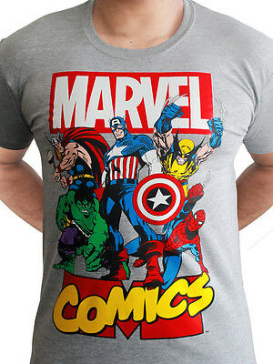Avengers Heroes Poster Official Marvel Comics Wolverine Grey Mens T-shirt