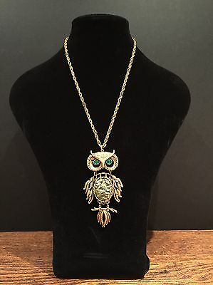 Vintage 1970's Gold Owl Necklace Rope Chain Costume Jewellery