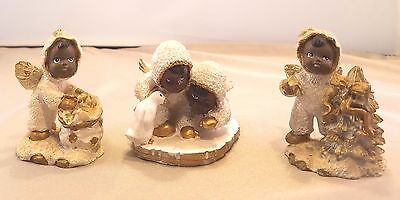 Vintage Collectible African American Christmas Angel Figurines -set of 3