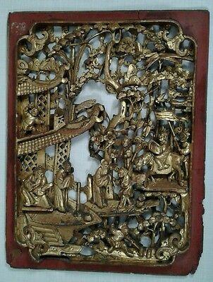 Antique 19Th Century Chinese Carved Gilt Wood Village Scene Plaque