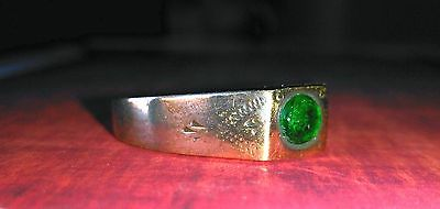MEDIEVAL bronze ring Green stone.