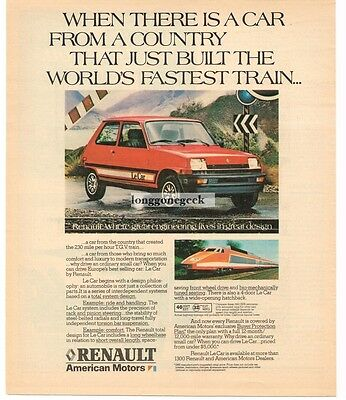 1981 Renault LE CAR Red 2-door Vtg Print Ad