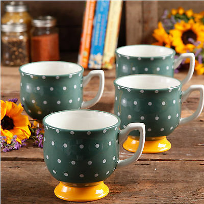 The Pioneer Woman Mugs Flea Market 15 oz Footed Decorated Green Dots Set of 4