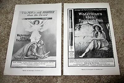 Vintage Print Ad c. 1915 Fountain Pen Waterman's Ideal Lot of 2