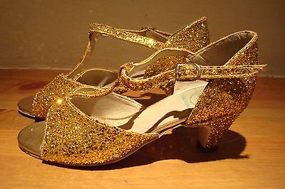 Size 3 Gold Glitter Dance Shoes Ballroom By Rock Valley Made In England