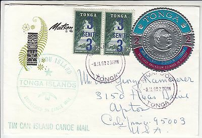 Tonga Tin Can Canoe Mail mailed at S.S. Mariposa Matson Lines 1969