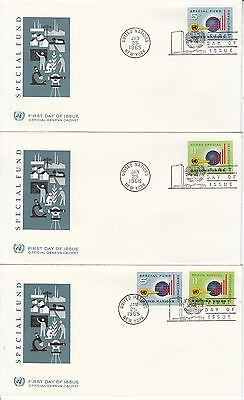 United Nations Special Fund 1965 3 FDCs Microscope building  science