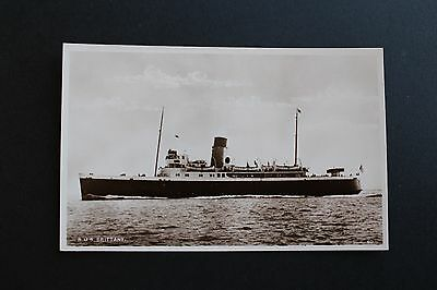 Black & White postcard channel steamer RMS Brittany