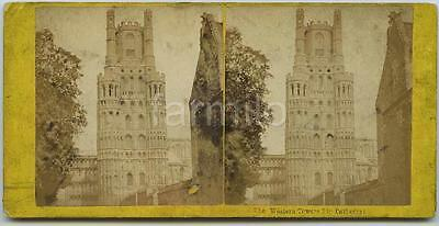 Cambridgeshire: Ely Cathedral, Octagon Western Towers exterior view 1860s