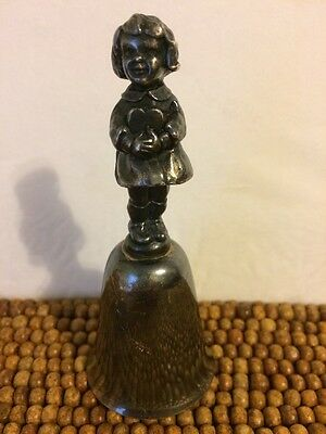 """Reed & Barton Silverplate Valentine's Day Girl Heart BELL 4"""" Tall"""