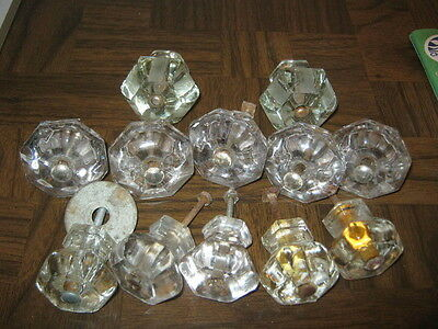 Lot Of 12 Used Vintage Antique Glass Drawer Pulls 3 Sizes