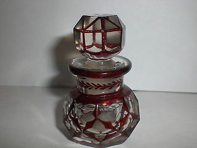 Victorian Ruby Overlay Cut  Glass Scent Bottle