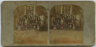 Private School: staff & children outside building, early tinted view