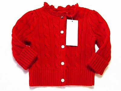 Designer Baby girl red cardigan by RALPH LAUREN size 6 months NEW WITH TAGS