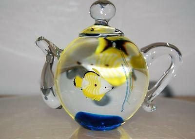 Collectible Art Glass Paperweight - Charming Teapot!