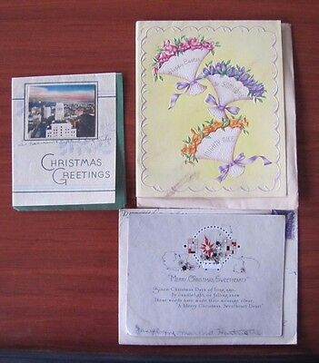 2 Vintage Christmas cards and 1 Easter card - 1940s