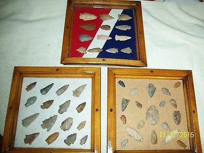 Three Frames-Genuine Arrowheads-One Covered-Removable-Sd,nd,co,wy