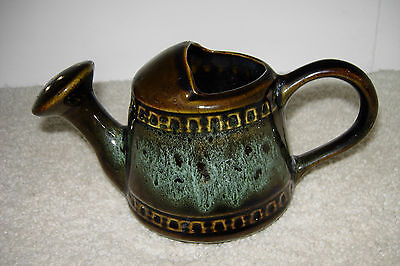 """Foster Pottery Watering Can Dark Brown Honeycomb Turquoise Splash 4 ¼"""" Tall"""