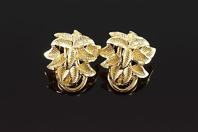 14K Filigree Floral French Clip Earrings Yellow Gold