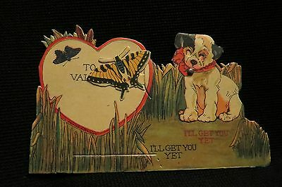 Vintage SWALLOWTAIL BUTTERFLY & BULLDOG valentine card 1920s  Germany