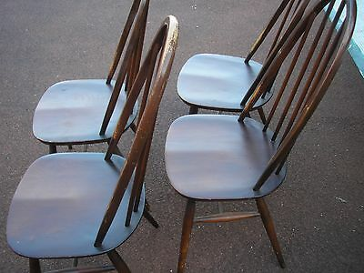ERCOL 1960 s vintage / retro set of four solid wood chairs