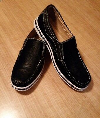 Lot (D)Phat Classic Size 10 Mens Black Slip On Casual Fashion Loafer Boat Shoes