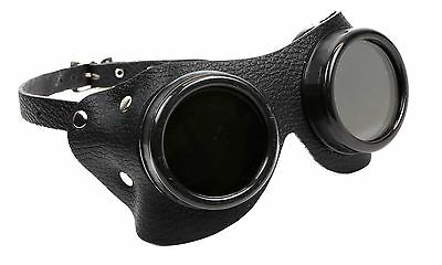 Leather Goggles Steampunk Black Cyber Motorcycle Flying Vintage Pilot Biker