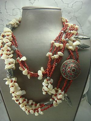"""Vintage 1970's Mop Coral Bead Belt Or Long Necklace 60"""" Chain  Made In India"""